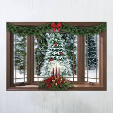 Frosted Pine Christmas Window Wall Decal Walmart Com Walmart Com