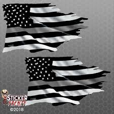 Thin Silver Line Tattered Flag Sticker Corrections Officer Vinyl Decal Car Truck 4 49 Picclick