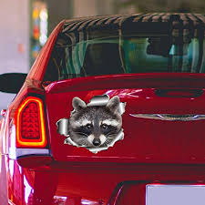 Amazon Com Raccoon Car Decal Car Bumper Sticker Vinyl Sticker For Cars Windows Walls Fridge Toilet And More 15 Inch Home Kitchen