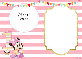 Free Printable Minnie Mouse 1st Invitation Templates Convite