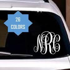 Vine Monogram Car Decal Monogram Window Sticker Monogram Etsy