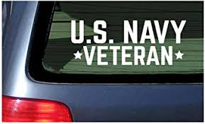 Amazon Com Us Navy Veteran White Vinyl Decal Sticker Window United States Military Sailor Usa Automotive