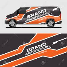 Car Livery Orange Van Wrap Design Wrapping Sticker And Decal Royalty Free Cliparts Vectors And Stock Illustration Image 124381061