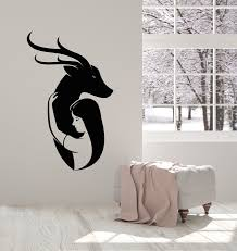 Vinyl Wall Decal Girl With Antelope Deer Wild Animal Love Stickers Mur Wallstickers4you