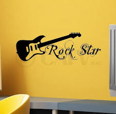 Rock Star With Guitar Wall Saying Vinyl Lettering Art Decal Quote Sticker Home Decor Walmart Com Walmart Com