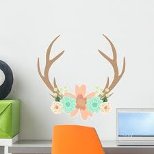 Deer Antlers And Flowers Wall Decal Sticker Wallmonkeys Peel Stick Vinyl Graphic 18 In W X 18 In H Walmart Com Walmart Com