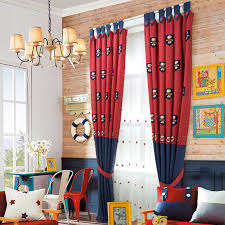 Red And Blue Embroidery Linen Cotton Blend Custom Cute Kids Curtains