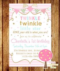 Twinkle Twinkle Little Star Birthday Invitation Pink Gold And