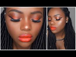 spring makeup look orange lips 2016
