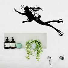 Scuba Diving Wall Decals Girl Diver Art Aqualung Bathroom Spa Salon Decor Kk195 Ebay