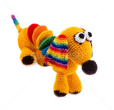 knitted toy dog stock photo denis