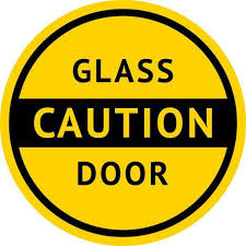 5inx5in Caution Glass Door Sticker Vinyl Business Sign Door Decal Stickers Door Stickers Door Decals Door Signs