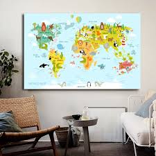 Animal World Map Poster Wall Art Colorful World Poster Canvas Painting Pictures Children Kids Room Decor Big Size Painting Calligraphy Aliexpress