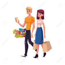 Young Couple, Family, Man And Woman Shopping Together, Cartoon ...