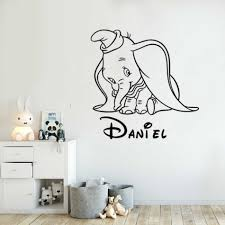 Shy Dumbo Custom Name Wall Art Sticker Cartoon Animal Cute Elephant Vinyl Wall Decal Kids Nursery Decor Home Interior Art Az855 Wall Stickers Aliexpress