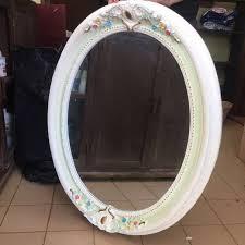vintage design ceramic oval wall mirror