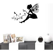 Bibitime Diy Silhouette Black Butterfly Fairy Wall Decal Vinyl Vines Leaves Sticker For Girl Bedroom Women Office B Kid Room Decor Vinyl Wall Decals Room Decor