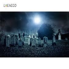 خلفيات للتصوير الفوتوغرافي Laeacco هالوين قمر الظلام مقبرة صورة