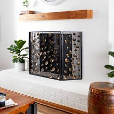 gold metal fireplace screen