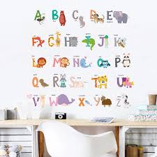 Cartoon Animals 26 Abc Alphabet Wall Stickers For Nursery Kids Rooms Home Decoration Wall Decals Pvc Mural Art Diy Posters Wall Stickers Aliexpress
