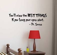 Amazon Com You Ll Miss The Best Things If You Keep Your Eyes Shut Dr Seuss Quote Vinyl Wall Decal For Kids Playrooms Bedrooms Baby Nursery School Classroom Library Preschools Handmade