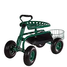 heavy duty green garden cart rolling