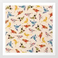 vine wallpaper birds art print by