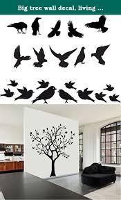 Big Tree Wall Decal Living Room Crows Ravens Doves Birds Mural Sticker Vinyl Huge Tree Wall Decal For Any Livin Tree Wall Decal Handmade Home Decor Tree Wall