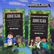Invitacion Minecraft Cumpleanos 100 00 En Mercado Libre