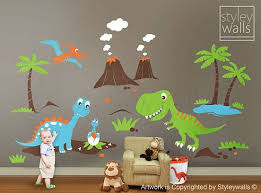 Dinosaurs Wall Decals Dino Land Wall Decal Dinosaurs Wall Etsy Dinosaur Nursery Dinosaur Wall Decals Kids Wall Decals