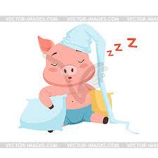 cute pig in hat sleeping funny cartoon