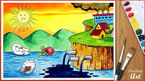 draw stop water pollution drawing