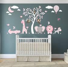 Jungle Animals Wall Stickers Girls Pink And Grey Nursery Etsy
