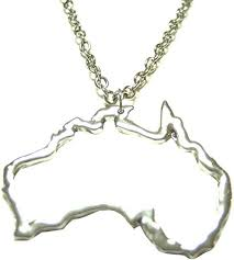 silver toned australia map outline