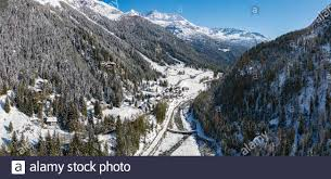 Chiareggio - Valmalenco (IT) - panoramic aerial view Stock Photo ...