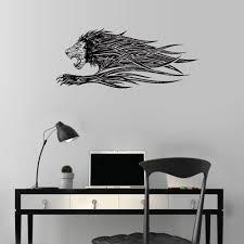Amazon Com Polua Wall Decal Sticker Art Mural Home Decor Running Lion Mane Fluttering Grin Strength Animal 24 H Home Kitchen