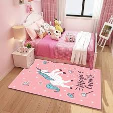 Amazon Com Poowe Pink Horse Kids Room Rug Baby Nursery Decor Anti Skid Large Area Rugs Modern Indoor Home Living Room Floor Carpet For Children Boys Girls Bedroom Rugs 19 7 X 47 2 Kitchen