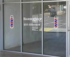 Barber Shop Barber Poles Business Vinyl Decal Sticker Window Lettering Ebay