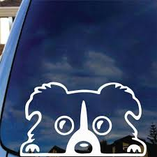 Boarder Collie Peeking Out Window Vinyl Decal Car Sticker Dog Pet Love Animals Car Decals Vinyl Dog Stickers Vinyl Decals