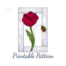 stained glass pattern poppy suncatcher
