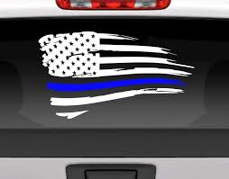 Distressed American Flag With Blue Line For Police Support Vinyl Decal