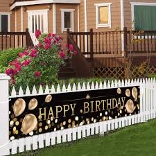 Amazon Com Black Balloon Happy Birthday Outside Banner Large Black And Gold Birthday Signs Decorations Giant Birthday Backdrop Supplies Fence Yard Sign Outdoor Decorations Photo Backdrop 6 Feet