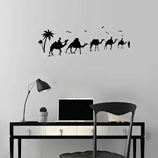 Amazon Com Polua Wall Stickers Decal Removable Vinyl Decal Quote Art Desert Oasis Camels Bedouins Nomads Home Kitchen
