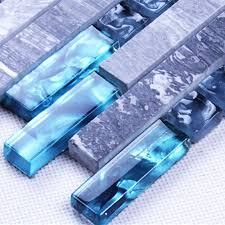 blue resin grey marble stone long strip