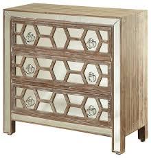 3 drawer mirrored front chest hazelnut