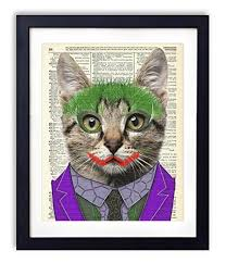 Amazon Com The Joker Cat Superhero Kids Bedroom Wall Decor Vintage Wall Art Upcycled Dictionary Art Print Poster For Kids Room Decor 8x10 Inches Unframed Handmade