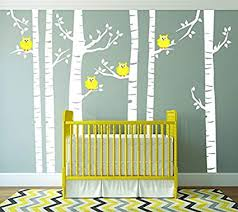 Amazon Com Yellow Owls And White Birch Tree Forest Wall Decal Birch Tree Wall Vinyl Sticker For Nursery Birch Forest Kids Wall Art Removable Vinyl Birch Tree Decal For Children Bedroom Home