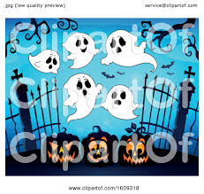 Clipart Of A Group Of Ghosts Over Cemetery Entrance With Gates And Halloween Jackolantern Pumpkins Royalty Free Vector Illustration By Visekart 1609318