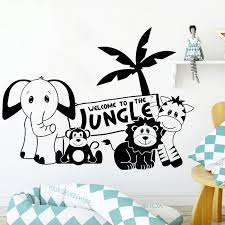 Hot Deal E827 Cartoon Wall Decal Welcome To The Jungle Kids Quotes Home Decoration Children Room Vinyl Nursery Interior Wall Stickers Y723 Cicig Co