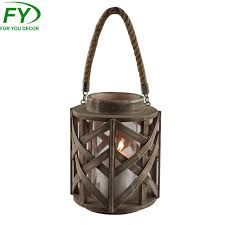 wood round lantern with rope handle